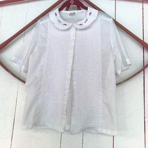 Vintage sheer pink flowered collar pin tuck shirt